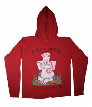 MOFGA's 2018 Common Ground Country Fair - Adult Long-Sleeved Hooded T-Shirt - Pigs - Red