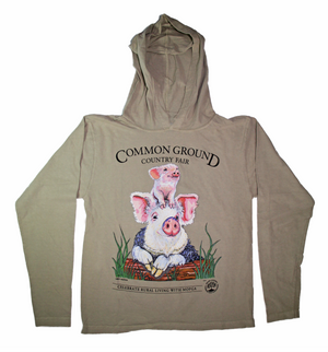 MOFGA's 2018 Common Ground Country Fair - Adult Long-Sleeved Hooded T-Shirt - Pigs - Putty (beige)