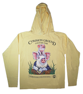 MOFGA's 2018 Common Ground Country Fair - Adult Long-Sleeved Hooded T-Shirt - Pigs - Yellow