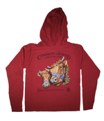 2019 Common Ground Country Fair Adult Hooded T-shirt. Dexter Heifers design. Color red cedar or dark red