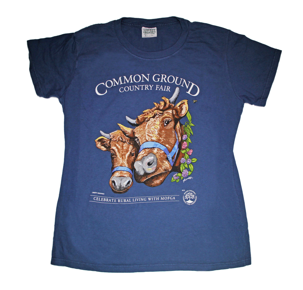 2019 Common Ground Country Fair Adult women's fitted short-sleeve T-shirt. Dexter Heifers design. Color bluestone a.k.a. dark blue
