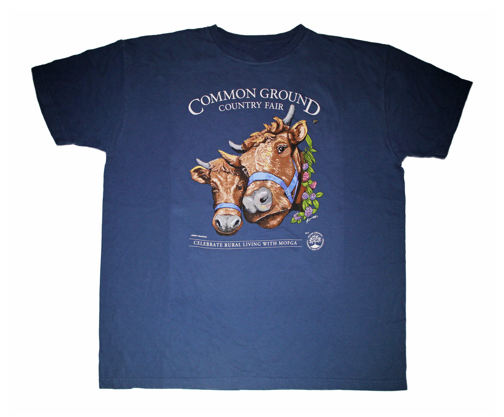 2019 Common Ground Country Fair Adult regular fit short-sleeve T-shirt. Dexter Heifers design. Color bluestone or dark blue