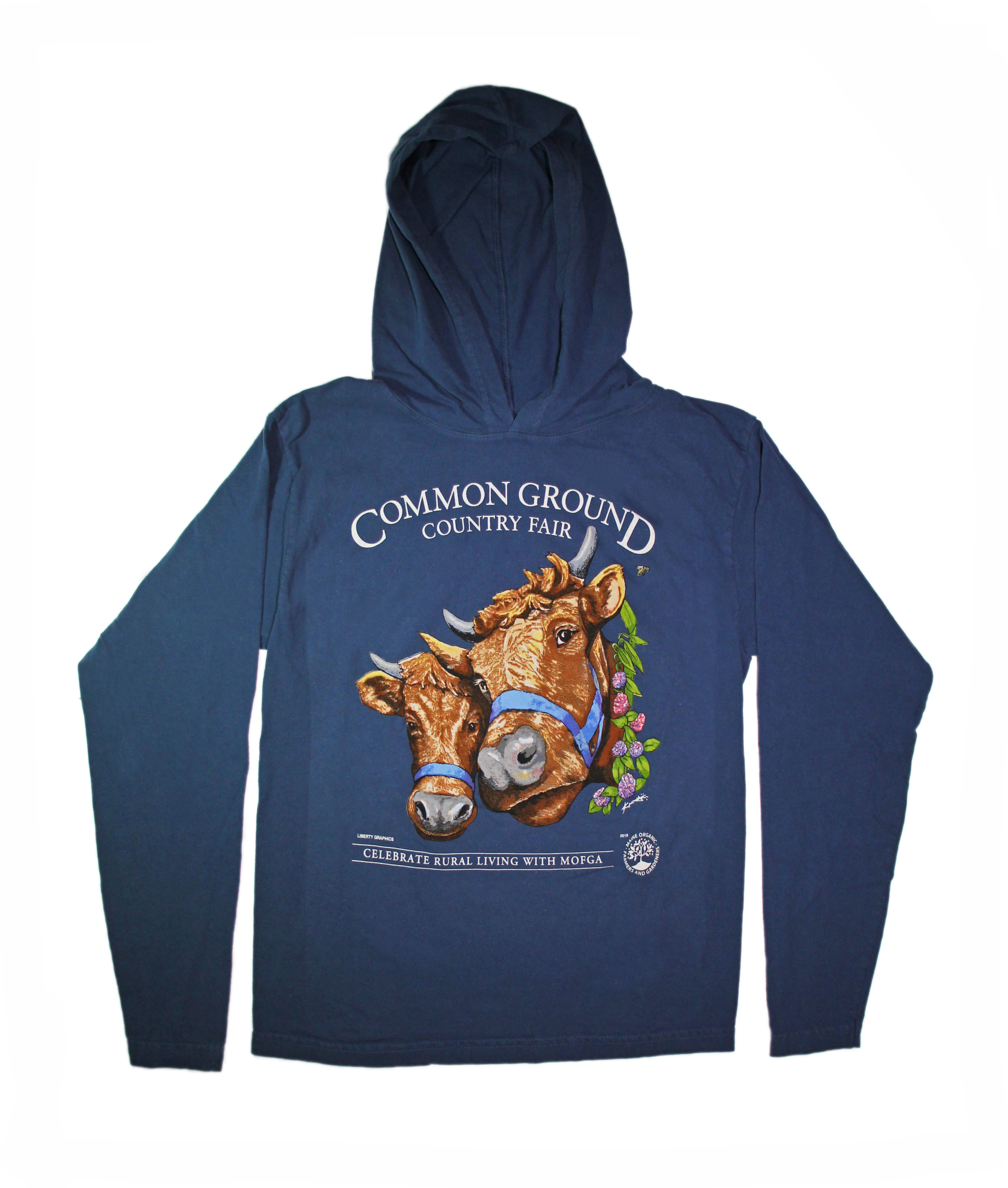 2019 Common Ground Country Fair Adult Hooded T-shirt. Dexter Heifers design. Color bluestone or dark blue