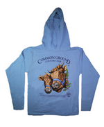 2019 Common Ground Country Fair Adult Hooded T-shirt. Dexter Heifers design. Color sky blue