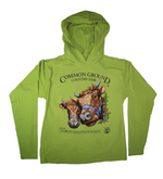 2019 Common Ground Country Fair Adult Hooded T-shirt. Dexter Heifers design. Color kiwi green