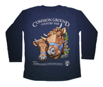 2019 Common Ground Country Fair Youth Long-sleeve T-shirt. Dexter Heifers design. Color bluestone a.k.a. dark blue