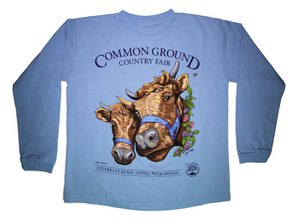 2019 Common Ground Country Fair Youth Long-sleeve T-shirt. Dexter Heifers design. Color sky blue