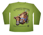 2019 Common Ground Country Fair Youth Long-sleeve T-shirt. Dexter Heifers design. Color kiwi green
