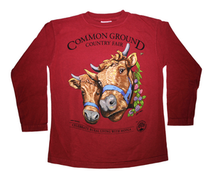 2019 Common Ground Country Fair Youth Long-sleeve T-shirt. Dexter Heifers design. Color red cedar a.k.a. dark red