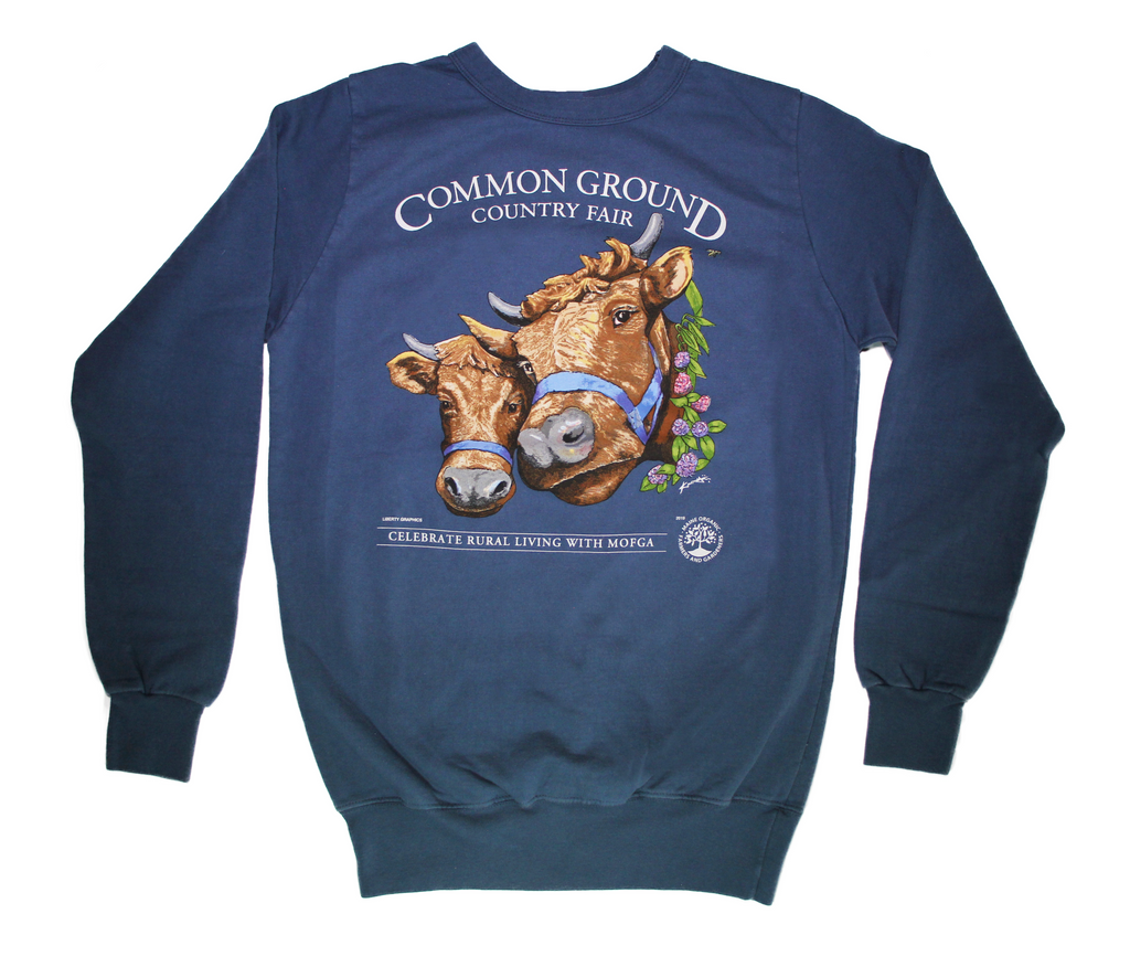 2019 Common Ground Country Fair Adult Crewneck Sweatshirt. Dexter Heifers design. Color Bluestone/dark blue