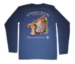 2019 Common Ground Country Fair Adult Long-sleeve T-shirt. Dexter Heifers design. Color bluestone or dark blue