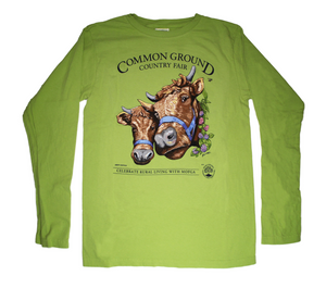 2019 Common Ground Country Fair Adult Long-sleeve T-shirt. Dexter Heifers design. Color kiwi green