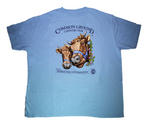 2019 Common Ground Country Fair Adult Long-sleeve T-shirt. Dexter Heifers design. Color sky blue