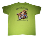2019 Common Ground Country Fair Youth short-sleeve T-shirt. Dexter Heifers design. Color kiwi green