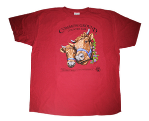 2019 Common Ground Country Fair Adult Long-sleeve T-shirt. Dexter Heifers design. Color red cedar or dark red