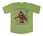 2015 Common Ground Country Fair Adult Regular fit short-sleeve t-shirt. Joyful Goat design. Color Woodbine Green.