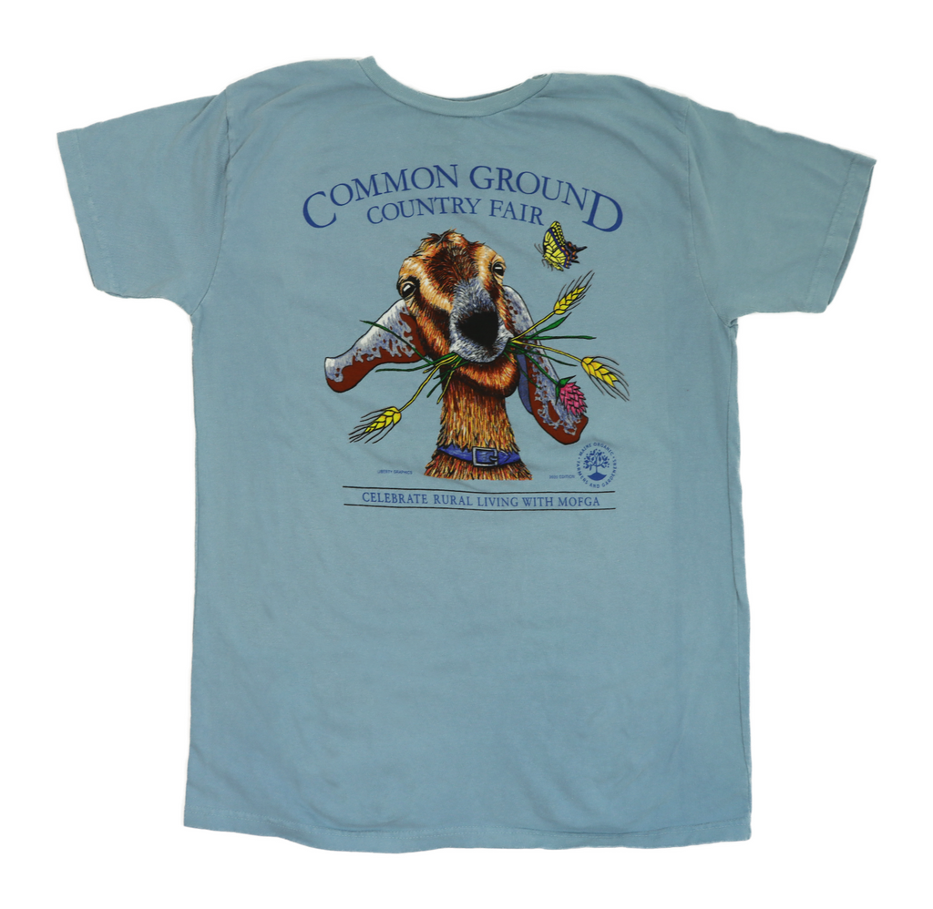 2015 Common Ground Country Fair Adult Women's fitted short-sleeve t-shirt. Joyful Goat design. Color Stone Blue.