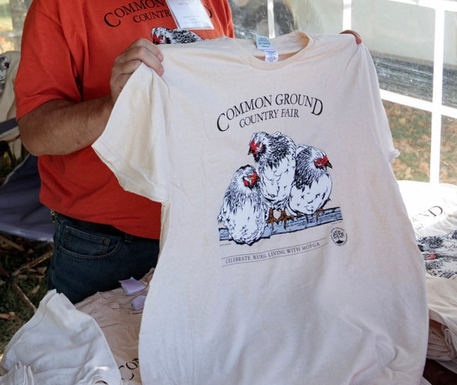 MOFGA's 2017 Common Ground Country Fair - Natural Regular Adult Short-Sleeved T-shirt - Wyandotte Chickens