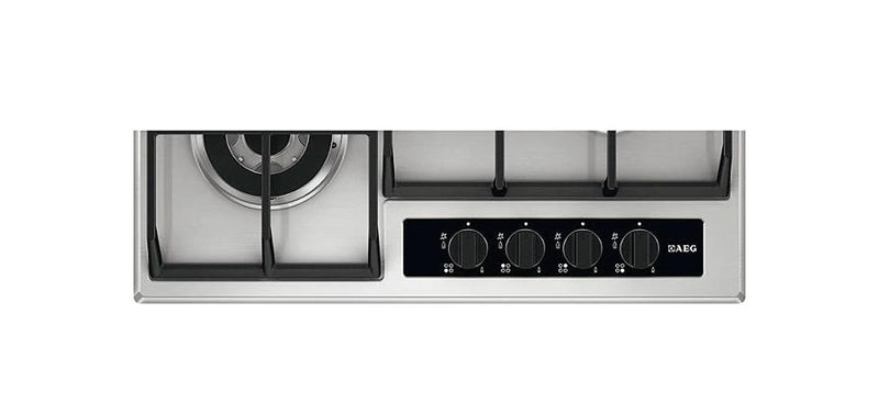 AEG 60cm Built-In Gas Hob Inox with 4 Burners and Cast Iron Support - HG654550SY