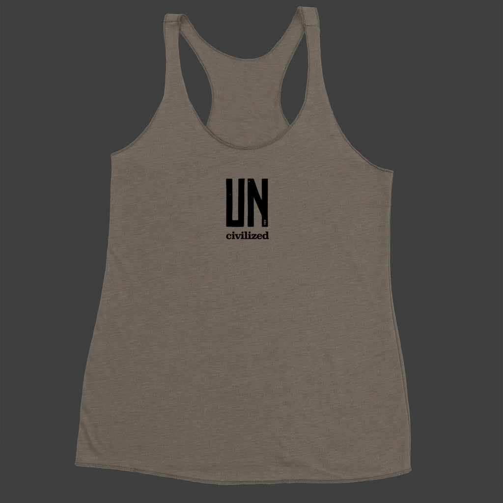 Women's UNcivilized Racerback Tank (Grey)