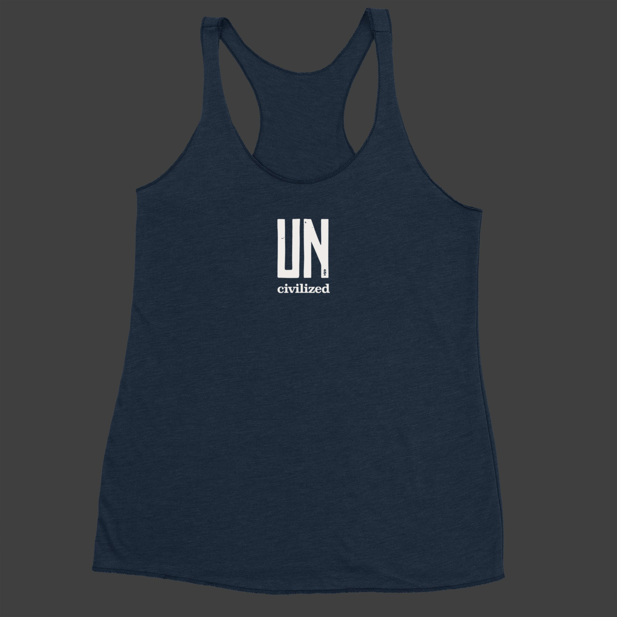 Women's UNcivilized Racerback Tank (Navy)