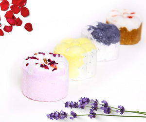 natural botanical shower bombs. vegan, palm oil and plastic free