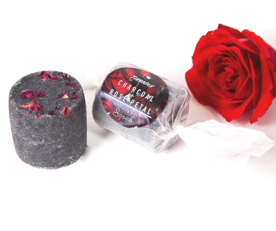 Charcoal & Rose Petal Body Scrub. Handmade with premium natural ingredients, ethically sourced, such as plant based oils and butters, botanicals and blends of essential oils. vegan and cruelty free, palm oil and plastic free. Luxury, Sustainable and eco-friendly product. De-stressing and anti-inflamatory properties. Cleanse your skin with the power of activated charcoal.Gender neutral, suitable for sensitive skin.