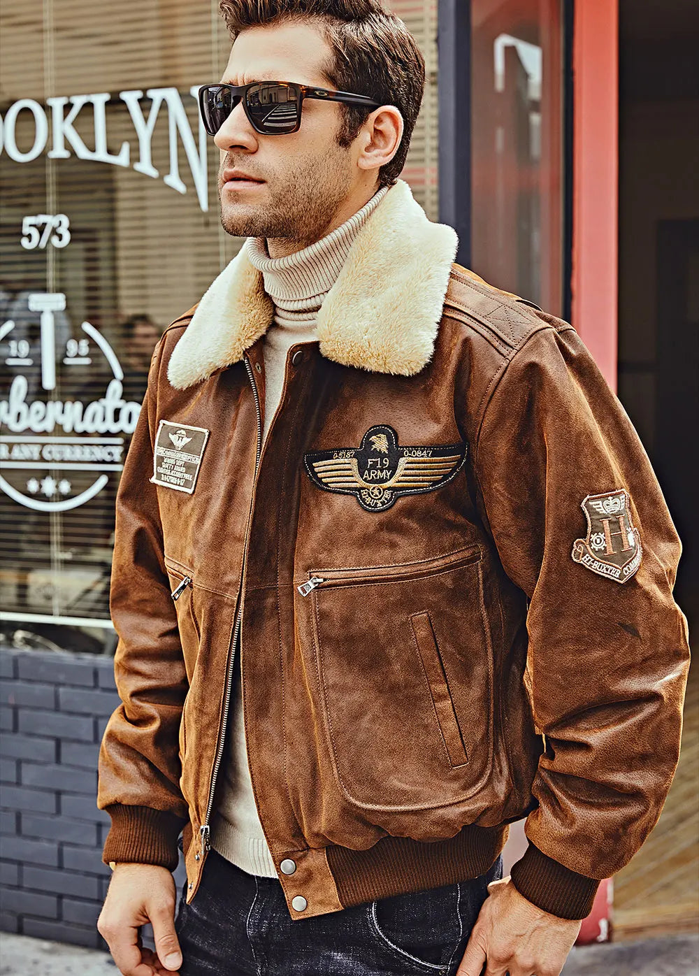 17.flavor leather men s leather bomber jacket aviator with removable collar
