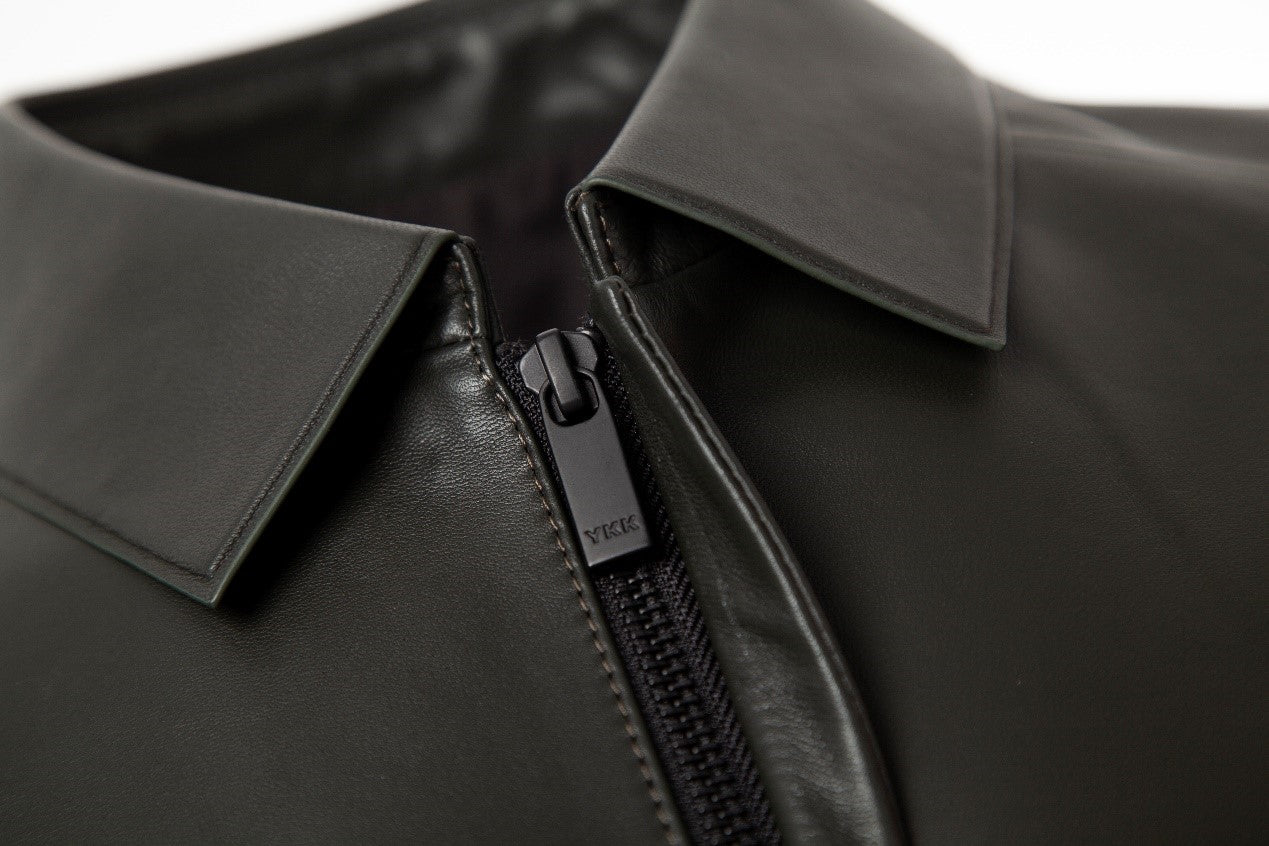 smooth grain lambskin jacket detail