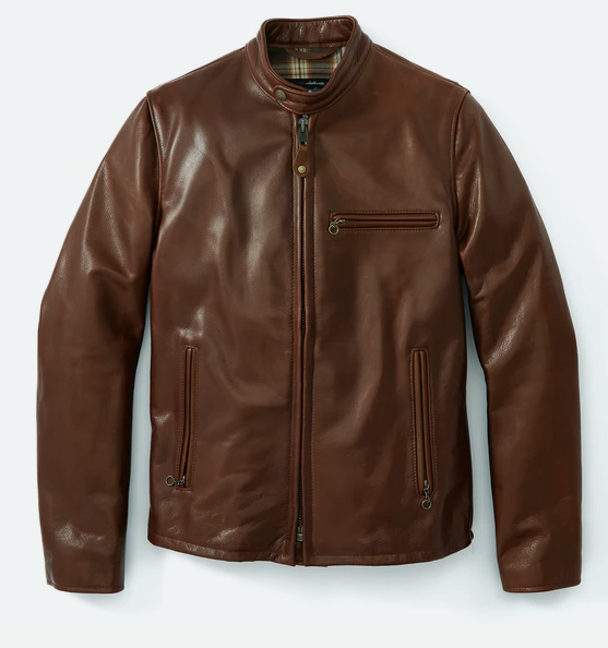 22.huck berry waxed natural pebbled cowhide cafe leather jacket