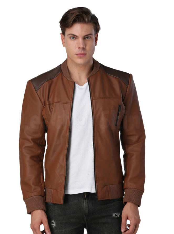 30.leather skin men s brown leather jacket