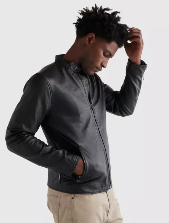 31.lucky brand clean leather bonneville jacket