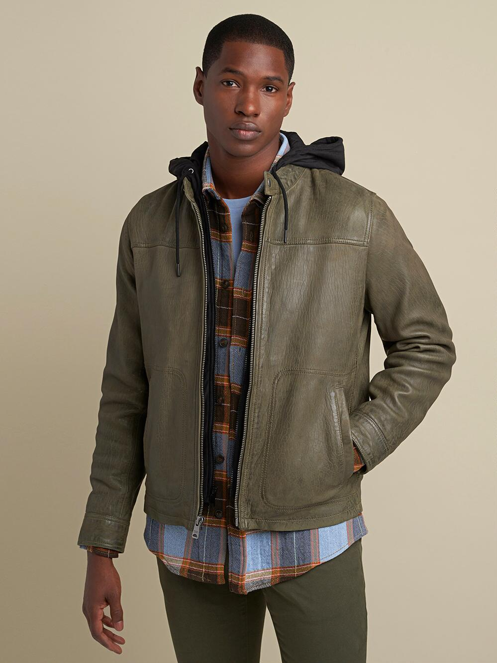 54.wilsons leather jack snap collar jacket with hood