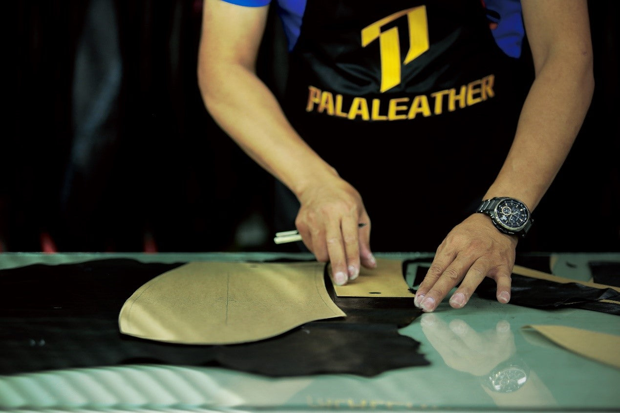 cutting of making a leather jacket