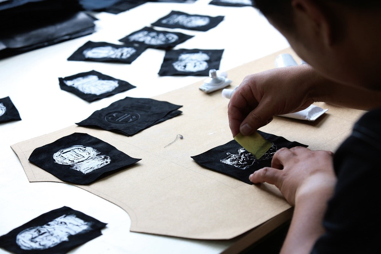 labelling of making a leather jacket