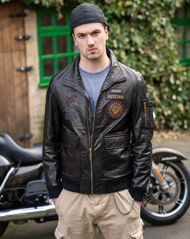 moto jacket leather patches