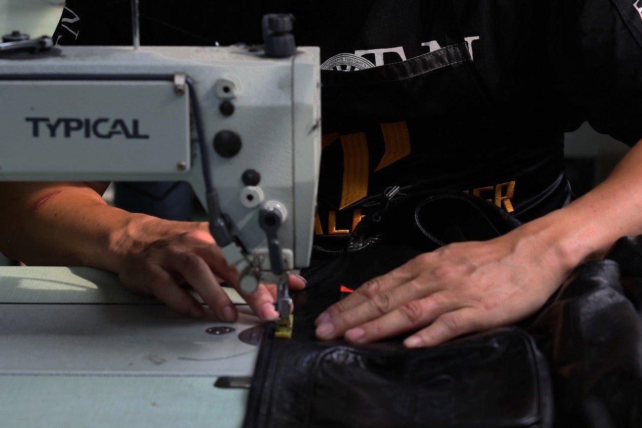 sewing of making a leather jacket