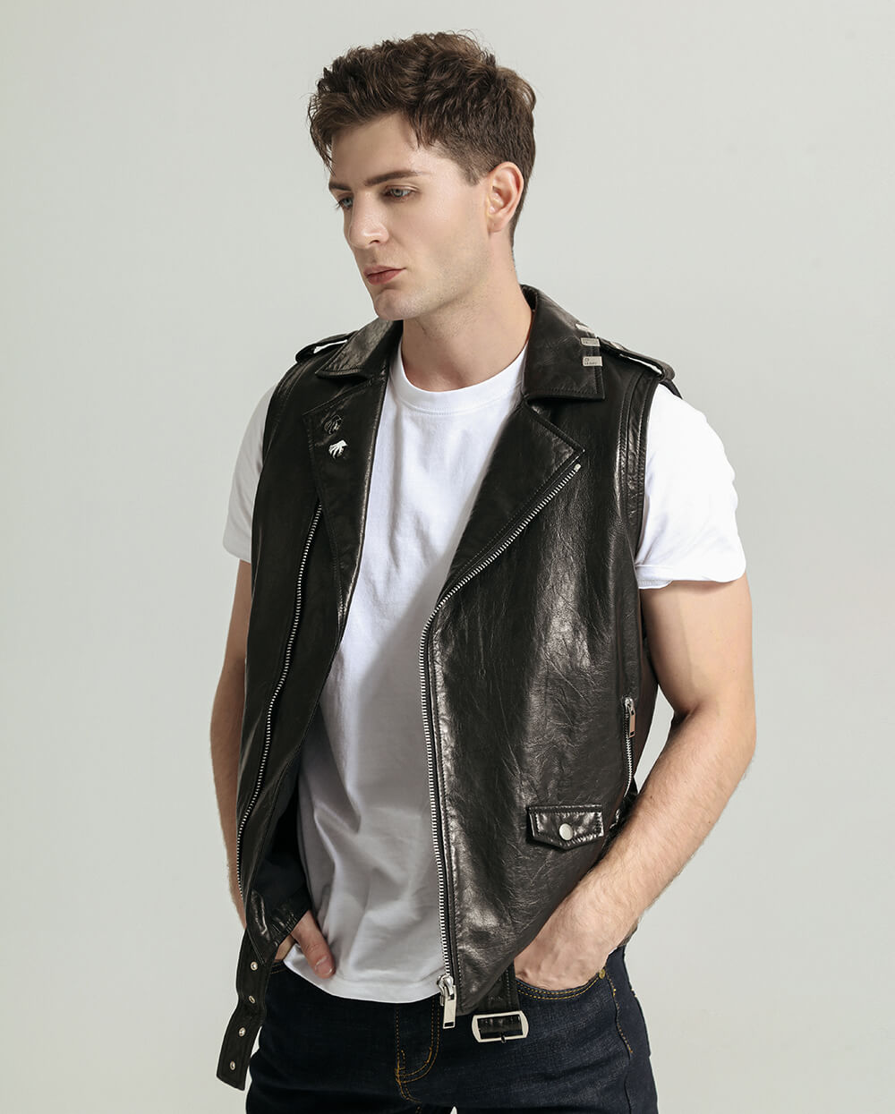 Belted Vegetable Tanned Goatskin Vest with Beads