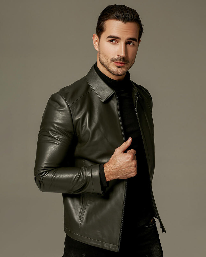 Businessman Minimal Sheep Skin Leather Jacket