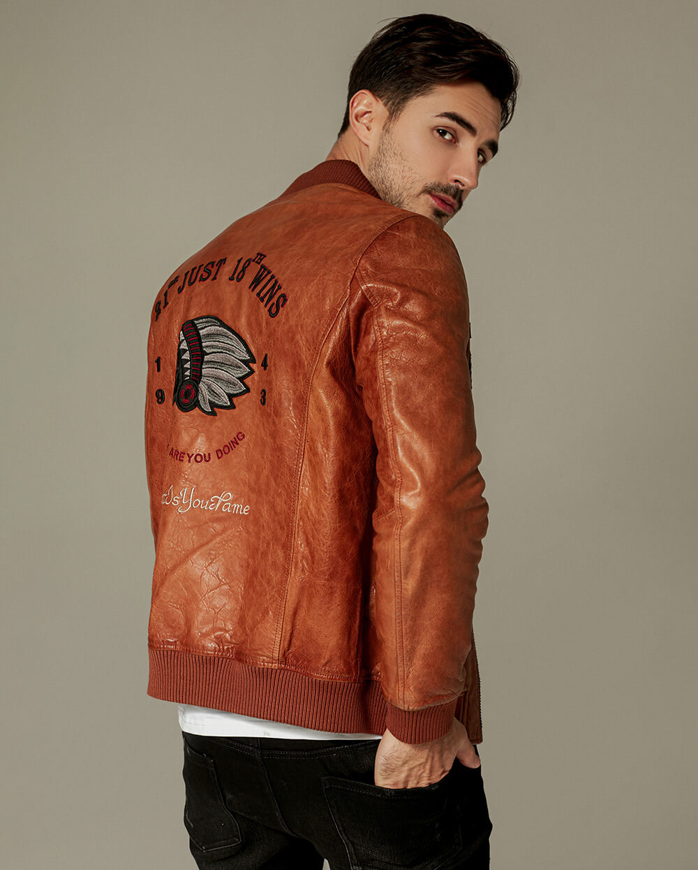 Casual Embroidered Zippered Baseball Moto Jacket