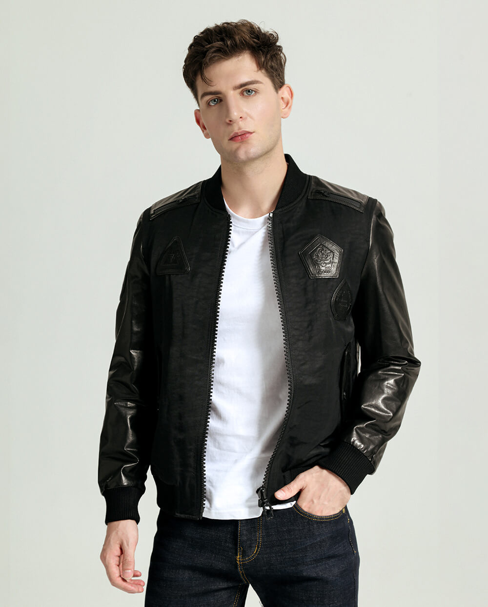 Baseball-Collar Minimal Goatskin Baseball Leather Jacket