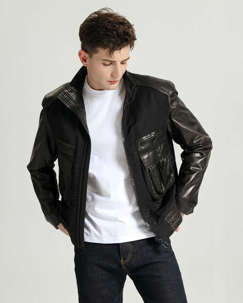 Casual Minimal Goatskin Stand Collar Leather Jacket
