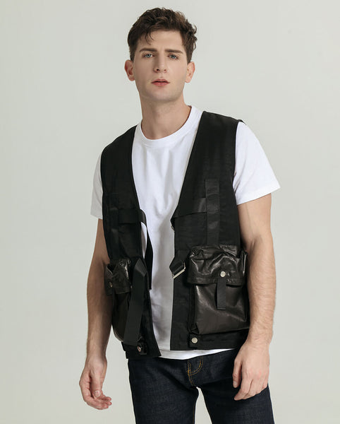 Casual Multi-function Pocket Minimal Goatskin Leather Vest