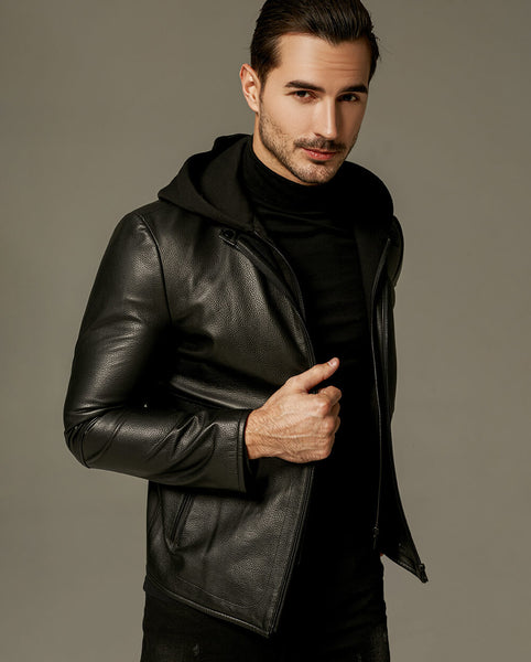 Casual Sweatshirt Hooded Minimal Goatskin Jacket