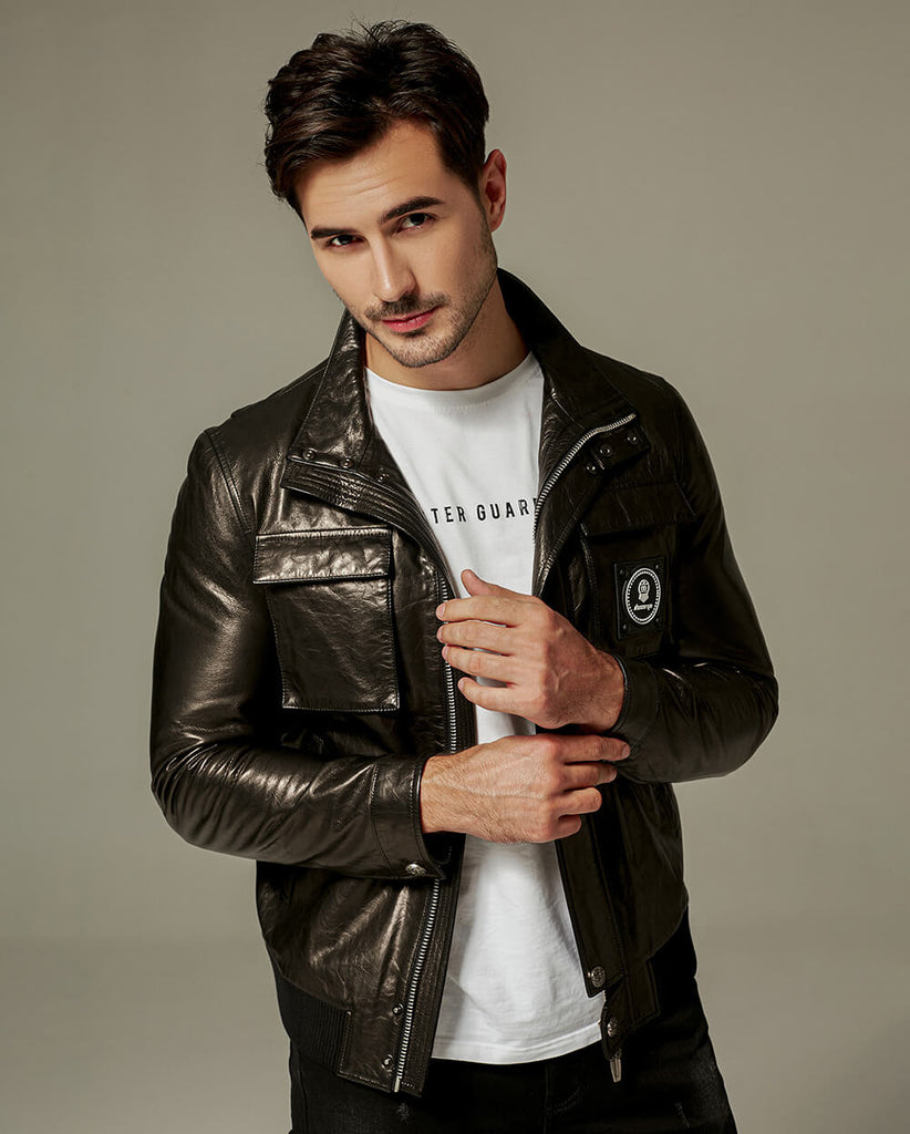 Casual Vegetable Tanned Goatskin Leather Jacket