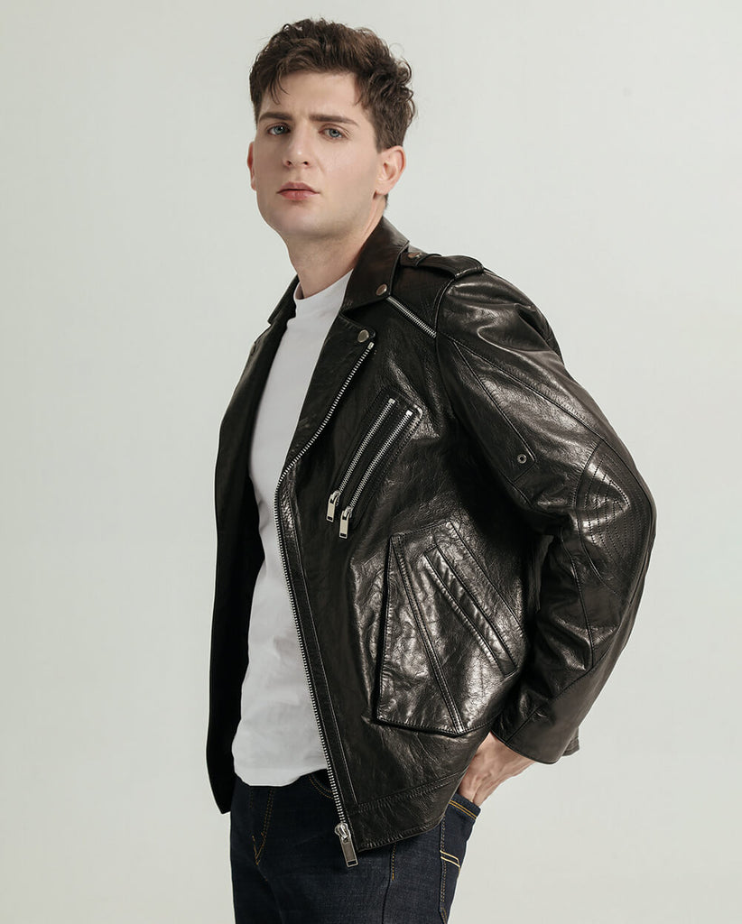 Casual Vegetable Tanned Goatskin Moto Jacket