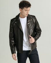 Load image into Gallery viewer, Casual Vegetable Tanned Goatskin Moto Jacket