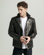 Load image into Gallery viewer, Casual Vegetable Tanned Goatskin Sapphire Moto Jacket