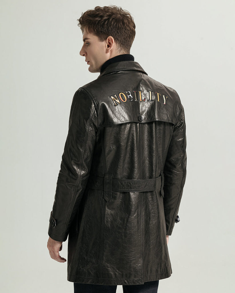Classic Embroidered Belted Vegetable Tanned Goatskin Trench