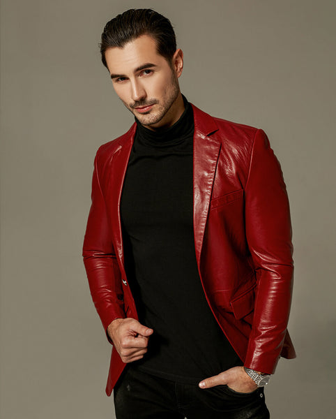 Classic Red Buttoned Goatskin Blazer Jacket
